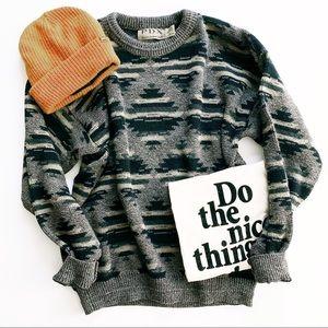 Vintage oversized Aztec boho grandpa sweater